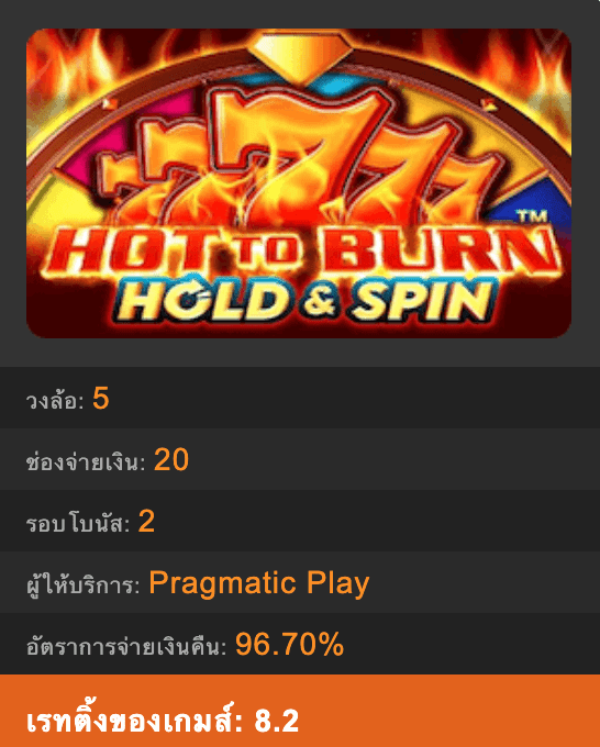 SLOT HOT TO BURN Hold And Spin